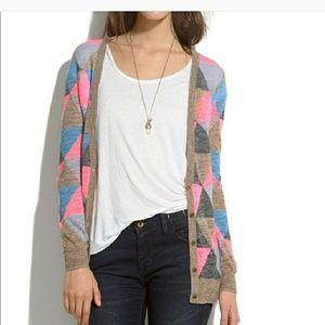 Madewell argyle lightweight cardigan size M